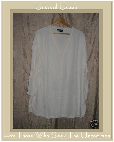 EILEEN FISHER Rayon Button Shirt Tunic Top Size 1 MEDIUM M