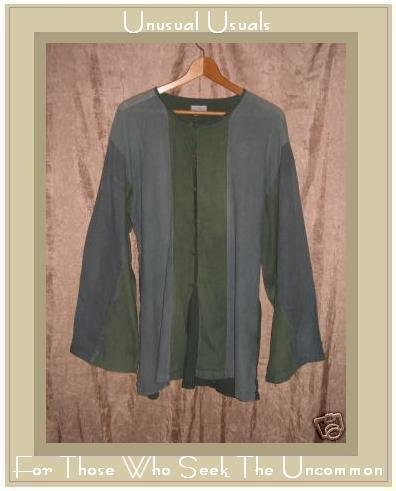 Soft Blue Green Striped Hippy Tunic Top Button Shirt Large L