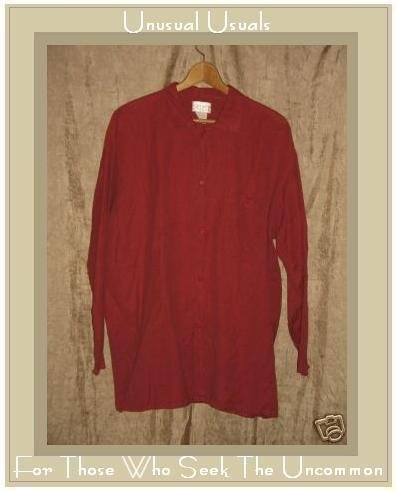 FLAX by Angelheart Jeanne Engelhart RED Linen Cotton Button Shirt Top Medium M