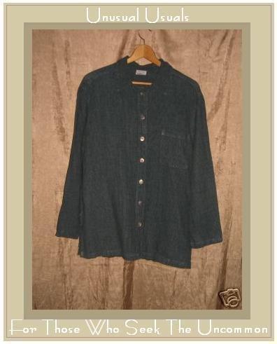 CLICK Blue Gingham LINEN Button Shirt Top Small S