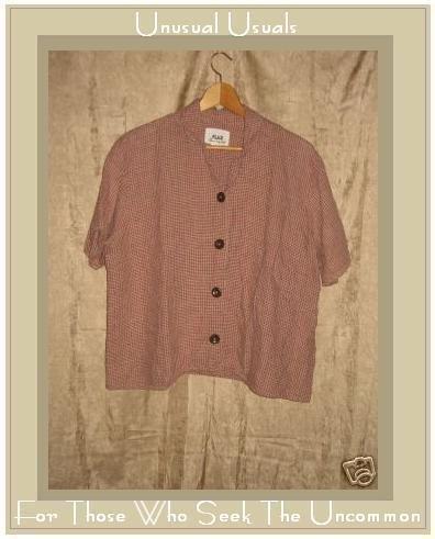 FLAX by Jeanne Engelhart Plaid LINEN Button Shirt Top Medium M