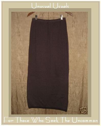 EILEEN FISHER Long Maroon Stripe Knit Skirt Small S