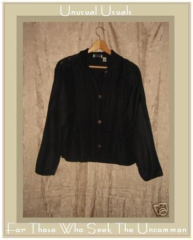 Putumayo Black LINEN Rayon Button Shirt Top Medium M