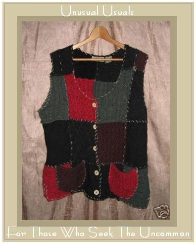 Anthropologie Funky Wool Patchwork Button Cardigan Sweater Small S
