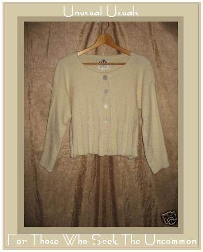 FLAX by Angelheart Jeanne Engelhart Cream Cropped Cardigan Sweater S M