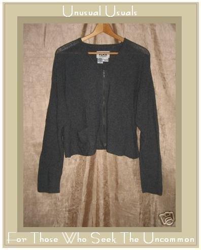 FLAX by Angelheart Jeanne Engelhart Gray Cropped Zipper Cardigan Sweater S M