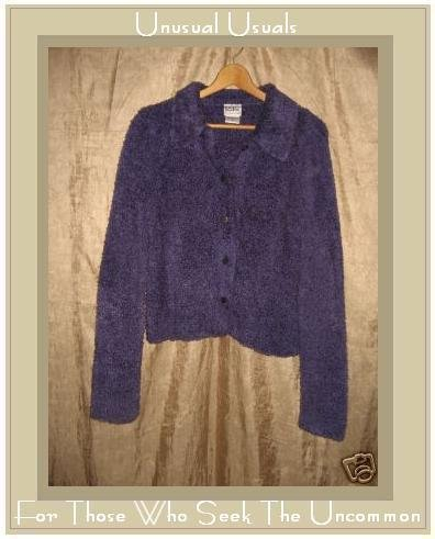 KIKO Soft Furry Purple Button Cardigan Top Medium M