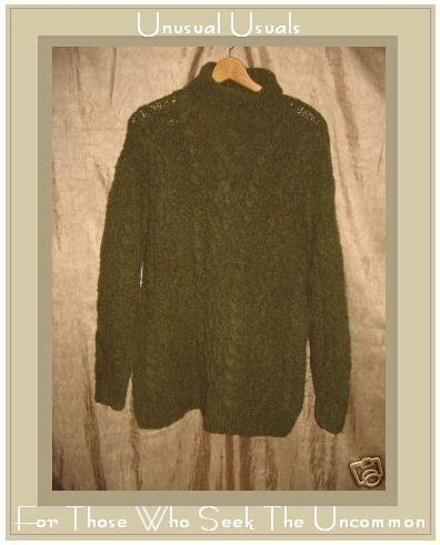 Banana Republic Soft Nubby Green Fisherman's Turtleneck Tunic Sweater Small S