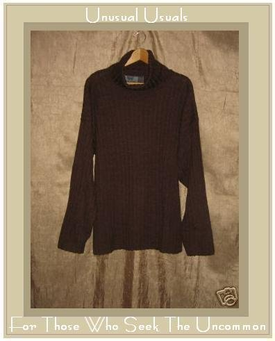 Puruvian Trading Company Rich Brown Merino Wool Turtleneck Tunic Sweater One Size