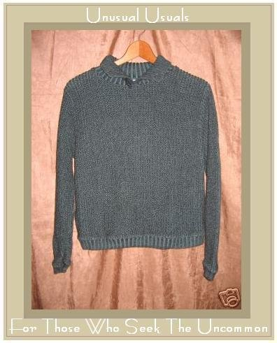 Willow Jewel Blue Buttoned Turtleneck Tunic Sweater Small S