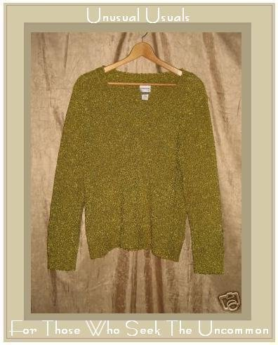 Chico's Green Slinky Knit Pullover Sweater Top Size 2 Large L