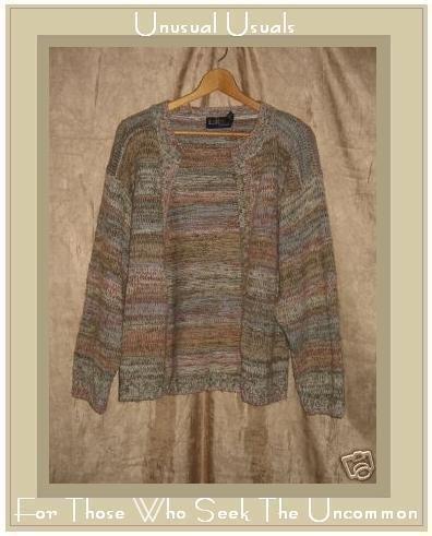 LeRoy Knitwear Soft Striped Open Knit Cardigan Top X-Large XL