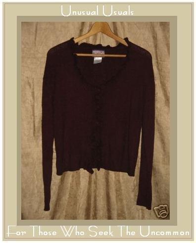 April Cornell Soft Burgundy Ruffle Front Cardigan Sweater Top Medium M