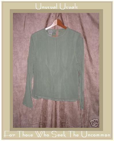 April Cornell Layered Green Tunic Top Shirt Medium M