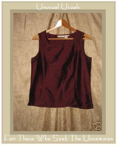 J. Jill Rich Burgundy Silk Shapely Sleeveless Shirt Top Small S