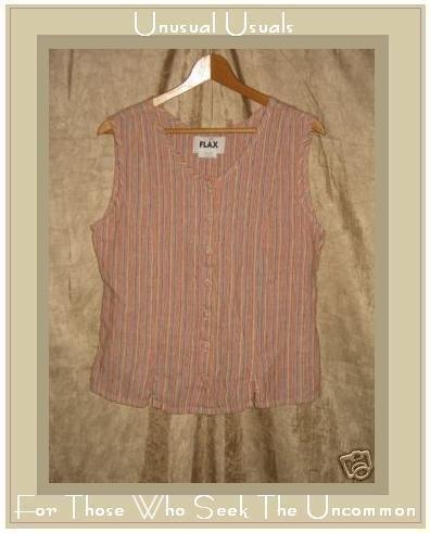 FLAX Jeanne Engelhart Striped Linen Shirt Tank Top Small S
