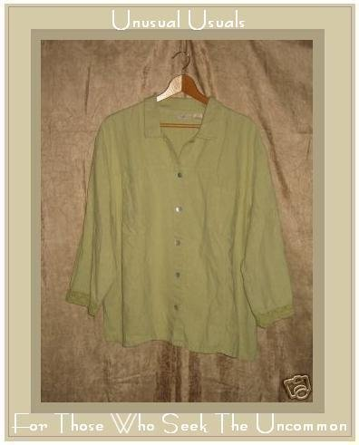 J. Jill Green LINEN COTTON Button Shirt Top 3X