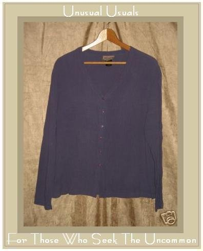 EILEEN FISHER Purple Button Shirt Tunic Top Jacket S M