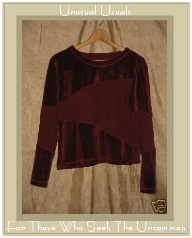 J. Jill Soft Burgundy Velour Knit Pullover shirt top Medium M