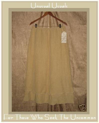 New J. Jill Textured Hemp & Silk Layered Skirt Large L