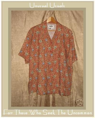 FLAX Floral Linen Button Shirt Top Jeanne Engelhart Medium M