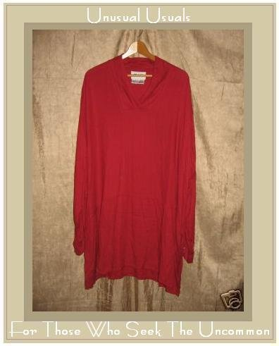 FLAX Long Red Skirted Tunic Top Shirt Jeanne Engelhart 3G