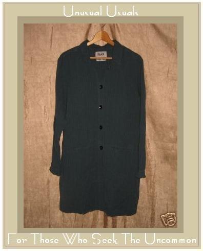 FLAX Long Jewel Blue Duster Jacket Tunic Top Jeanne Engelhart Large L