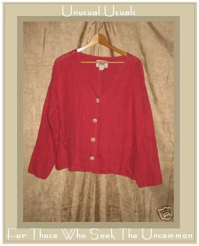 FLAX by Jeanne Engelheart Red Linen Shirt Jacket Top Small S