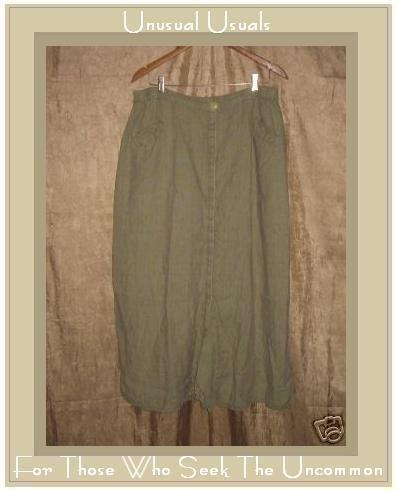 FLAX by Jeanne Engelhart Sage LINEN Button Skirt 3G