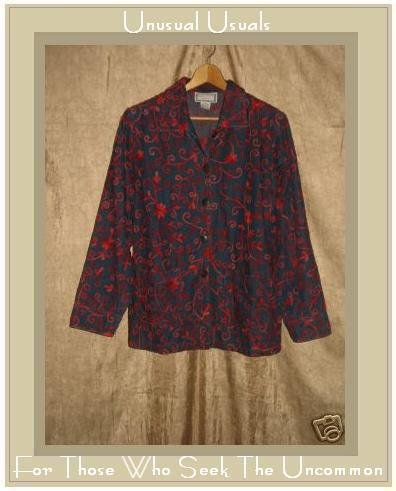 APRIL CORNELL Red Embroidered Button Jacket Shirt Top Small S
