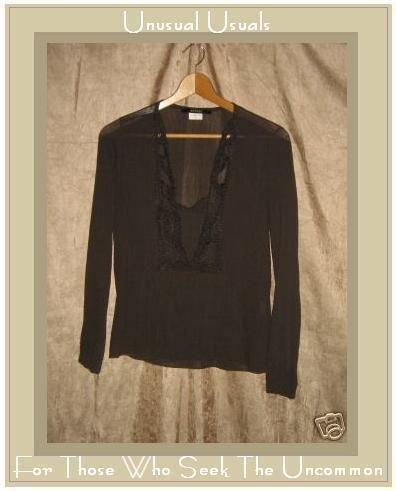SANDRO Earthy Gray Crochet Trim Tunic Top Shirt Medium M