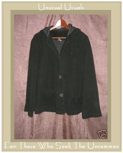 LUCIE Dark Green Hooded Button Jacket Top Medium M