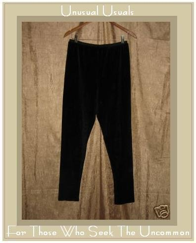 FLAX by Jeanne Engelhart BLACK VELOUR Leggings Pants Large L