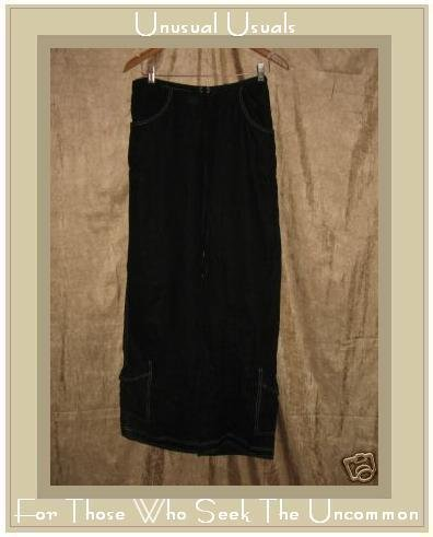 SOLITAIRE Funky Black Boutique Linen Cargo Pants Small S