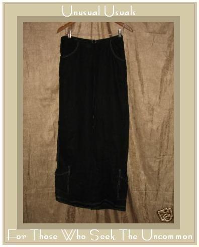 SOLITAIRE Funky Black Boutique Linen Cargo Pants Small S