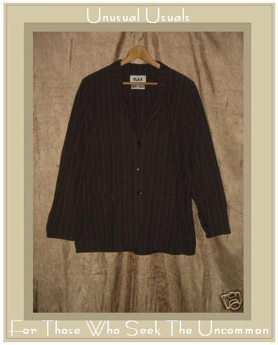 FLAX Rich Purple Striped Jacket Top Jeanne Engelhart Small S