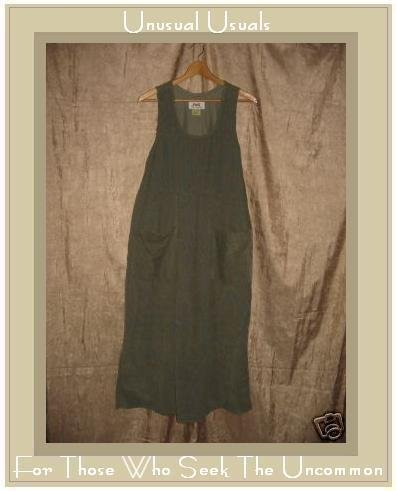 FLAX by Jeanne Engelhart Green COTTON Corduroy Dress LARGE L