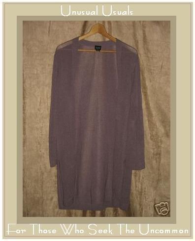 EILEEN FISHER Long Purple Shawl Cardigan Sweater Tunic Top Medium M