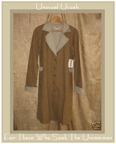 NEW SOLITAIRE Long Linen Coat Jacket Top Medium M