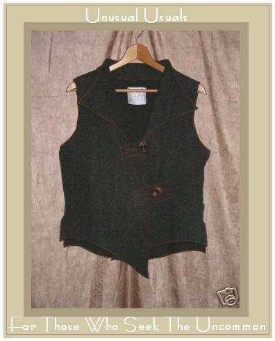 SUSAN SULLIVAN DESIGN Boutique Gray Asymmetrical Wool Vest S M
