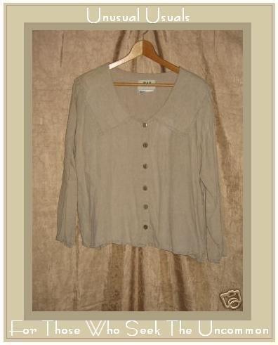 FLAX by Jeanne Engelheart LINEN Floppy Collar Shirt Top Small S