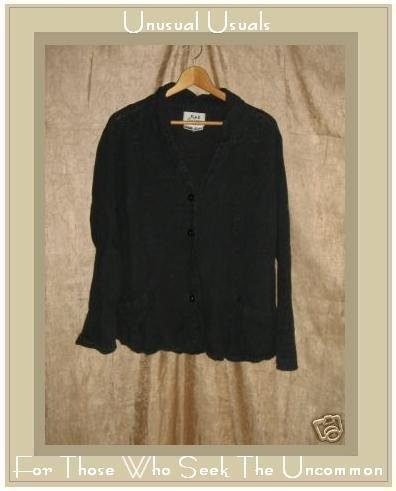 Flax by Jeanne Engelhart Black LINEN Shapely Jacket Shirt Top MEDIUM M