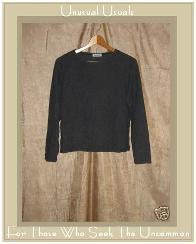 GEMILLI Dark Gray Softly Textured Boxy Pullover Shirt Top Medium M