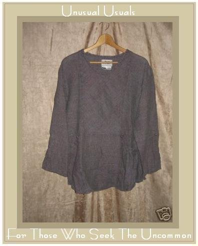 Flax by Jeanne Engelheart Thermal LINEN Picnic Shirt Tunic Top Shirt MEDIUM M