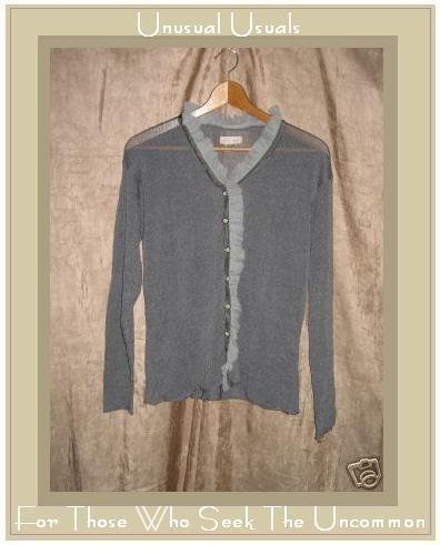 New NEESH by D.A.R. Slinky Gray Ruffle Cardigan Sweater Medium Large M L
