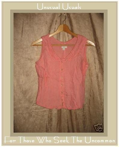 J. Jill Soft Coral Linen Fitted Shirt Tank Top Small S