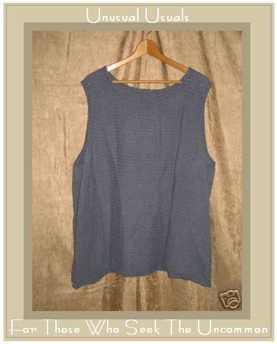 FLAX Puckered Linen Pullover Shirt Tank Top Jeanne Engelhart 3G