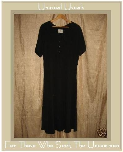 R-Clan by Jeanne Engehart Black Vintage Dress Flax Medium M