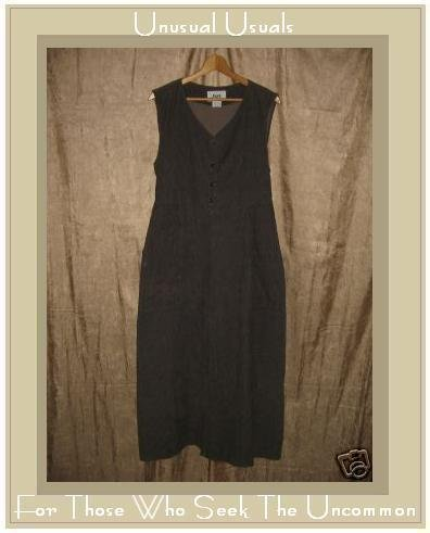 FLAX by Jeanne Engelhart Brown COTTON Corduroy Dress SMALL S