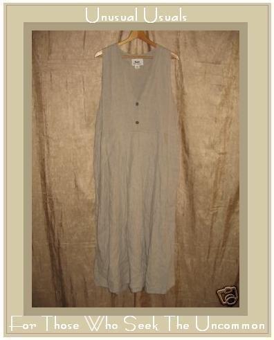 FLAX by Jeanne Engelhart Natural Linen Jump Dress Medium M